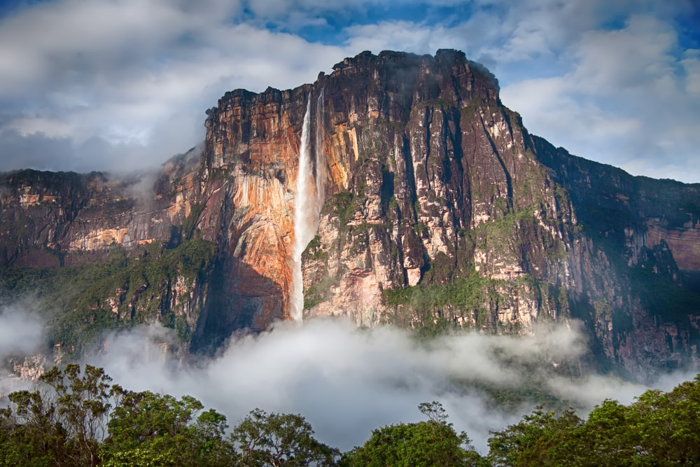 Angel Falls surrounded by mist
