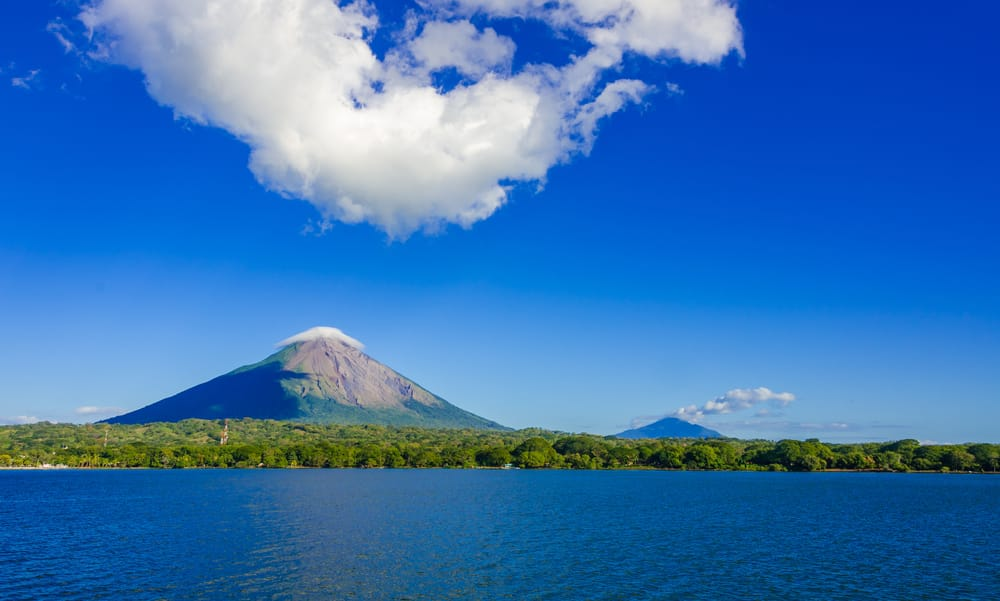 Volcanoes seen from a lake