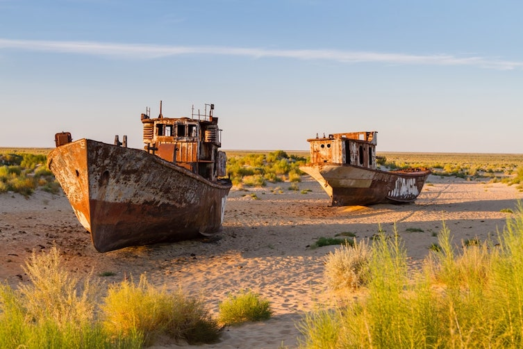 Rusting ships in the Aral Sea
