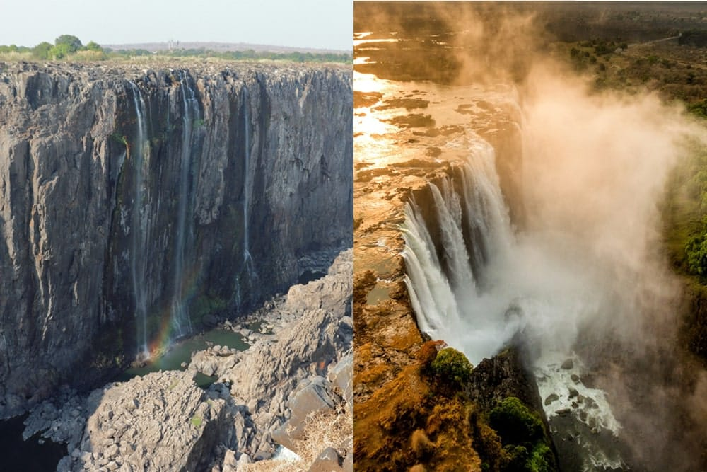 The Victoria Falls during a drought compared to normal