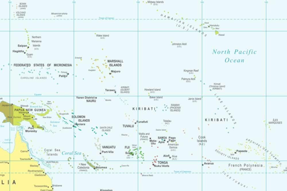 Map of Kiribati showing it falls into all four hemispheres