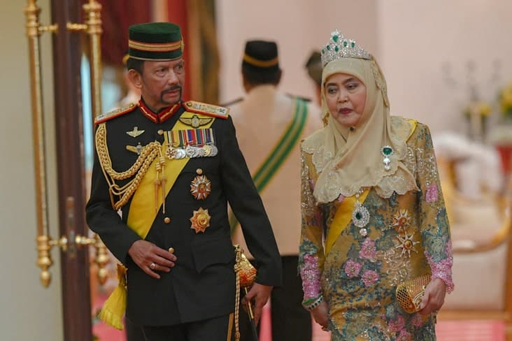 Brunei's sultan Hassanal Bolkiah and his wife in 2019