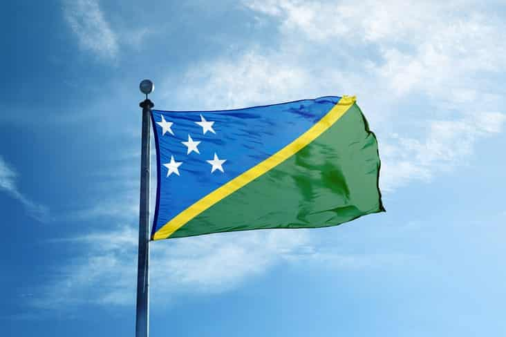 The flag of the Solomon Islands
