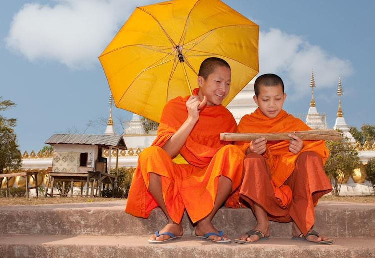 Novice monks in Laos monks