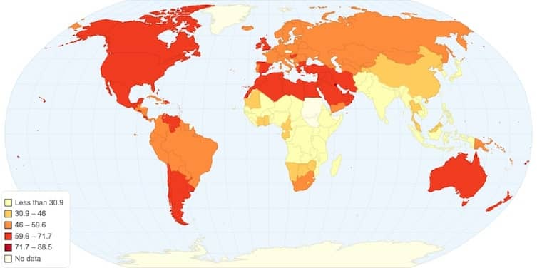 Map of the world's most obese countries