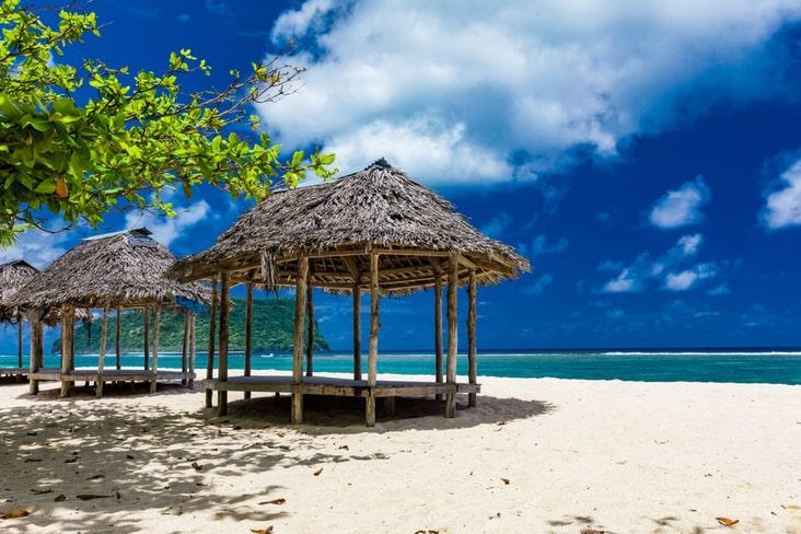 A beach fale in Samoa