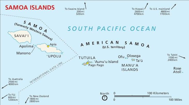 Map of Samoa near to the International Dateline