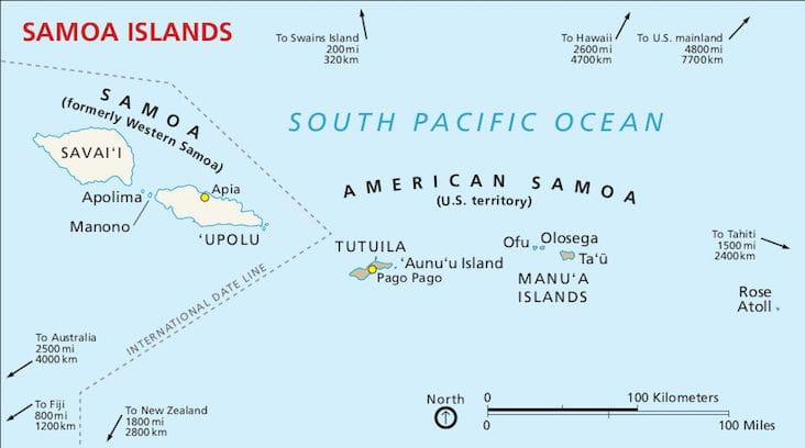 Map of Samoa near to the International Dateline