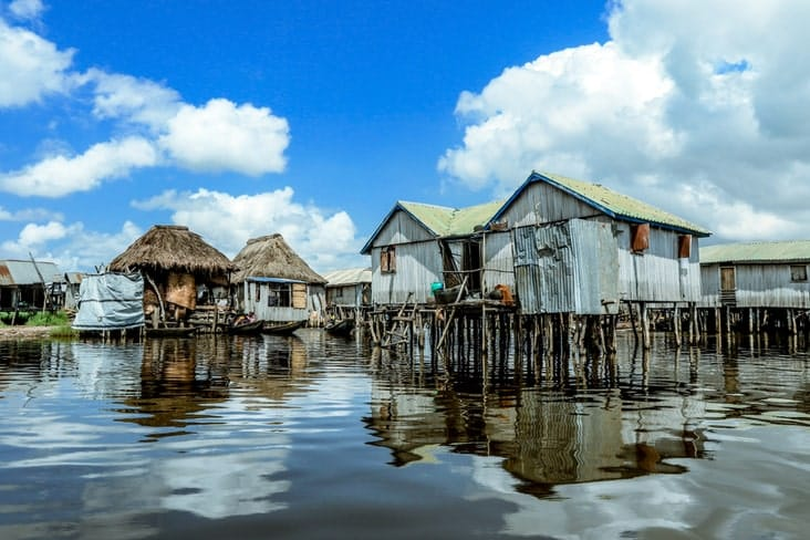 "Houses on stilts in the ""Venice of Africa"""