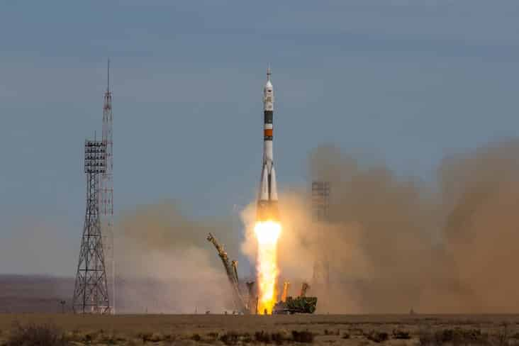A rocket launches from Baikonur Cosmodrome