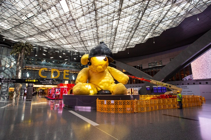 The giant teddy at the international airport