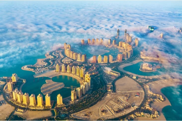Aerial view of the artificial island of Pearl-Qatar