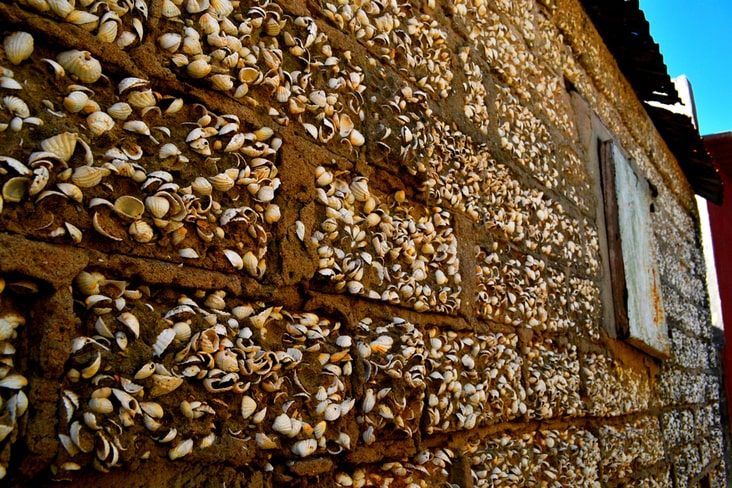A clamshells wall on Fadiouth Island