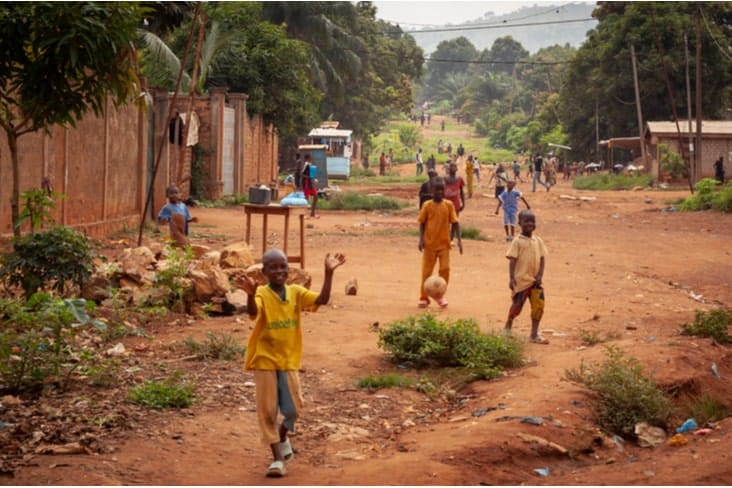 Impoverished children in the Central African Republic (CAR)