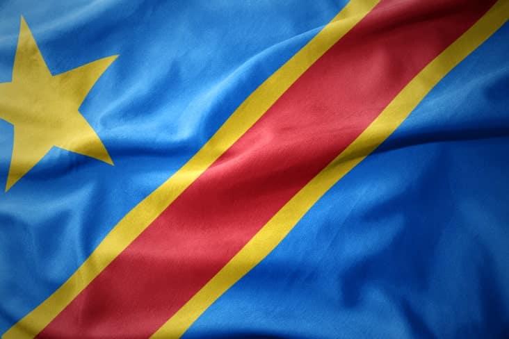 The flag of the Democratic Republic of Congo