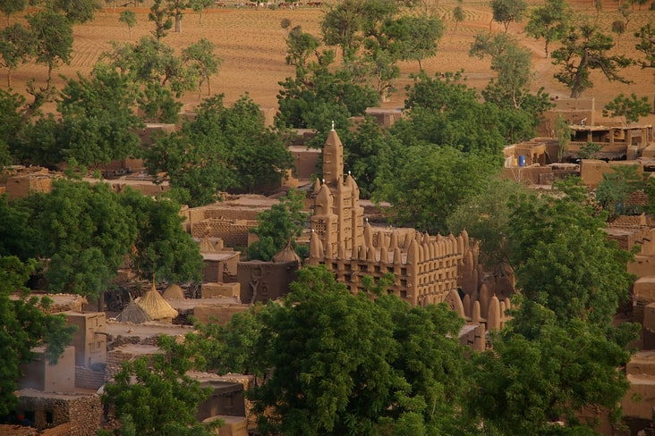 Interesting facts about Mali include its mud-brick buildings