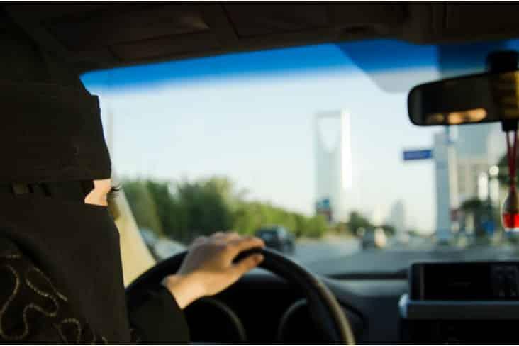 A woman driving in Saudi Arabia
