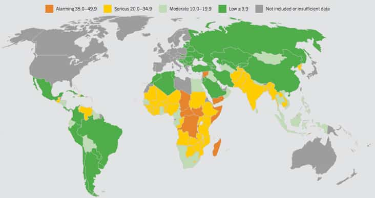 Map of the world's hungriest countries