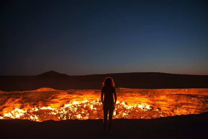Interesting facts about Turkmenistan include the spectacular Darvaza gas crater
