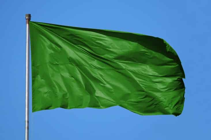 The old plain green flag of Libya