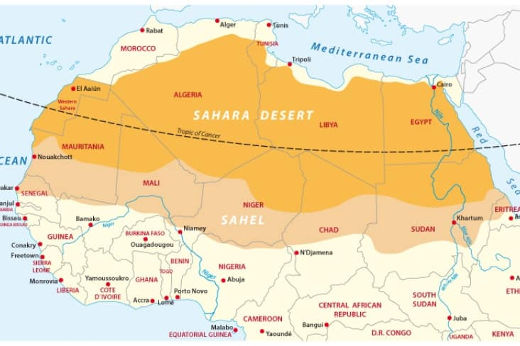 Map of the Sahara Desert