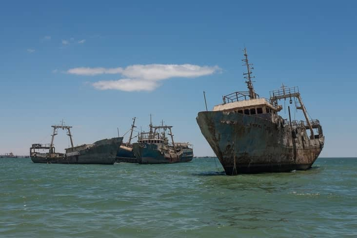 Rusting wrecks in the world's largest ship graveyard