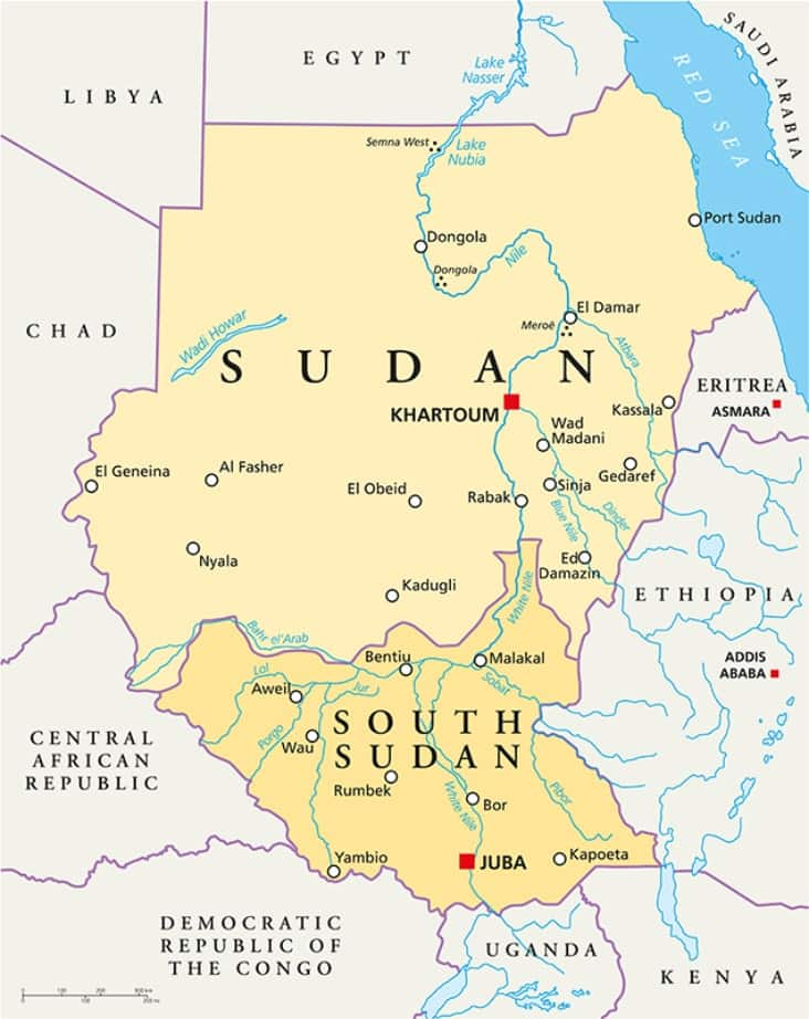 A map of South Sudan showing Sudan to its north