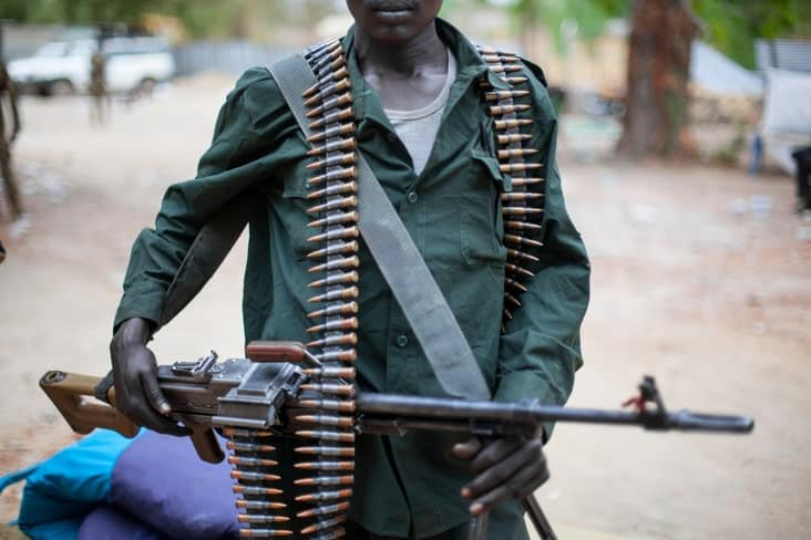An armed soldier in South Sudan