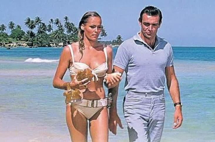 Sean Connery and Ursula Andress on set in Jamaica