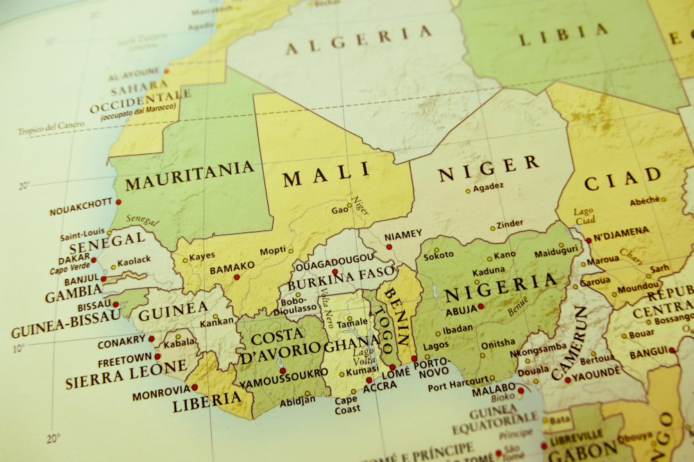 Map of Togo in West Africa