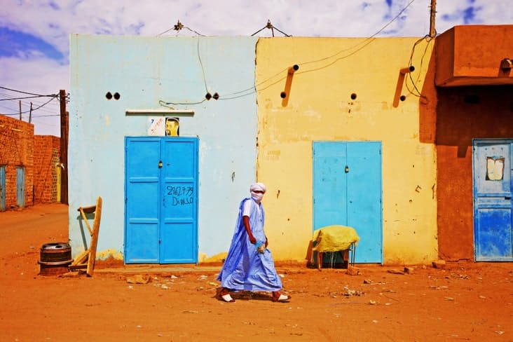 A man walks in Mauritania