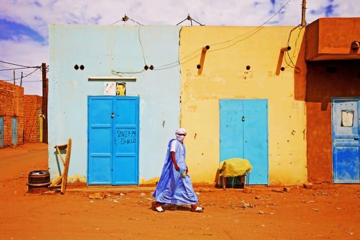 A man walks in Mauritania