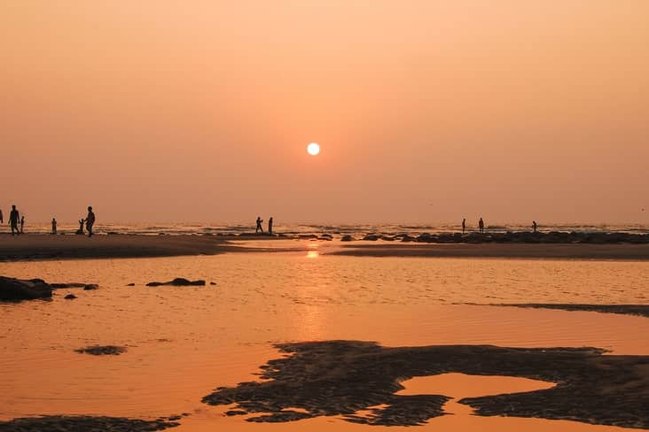 Sunset over Cox's Bazar, the  longest beach in the world