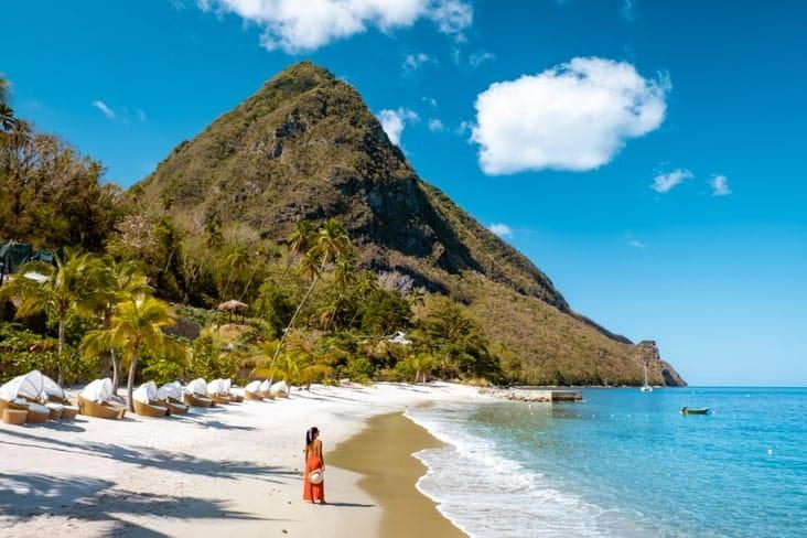 A beach below Gros Piton