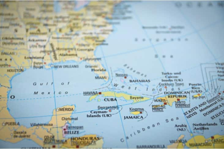 A map of Cuba in the Caribbean Sea