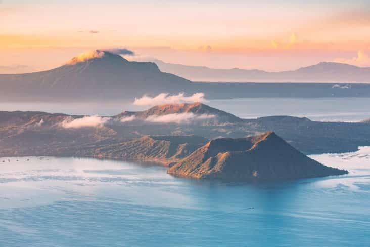 Taal Volcano with smoke and ash