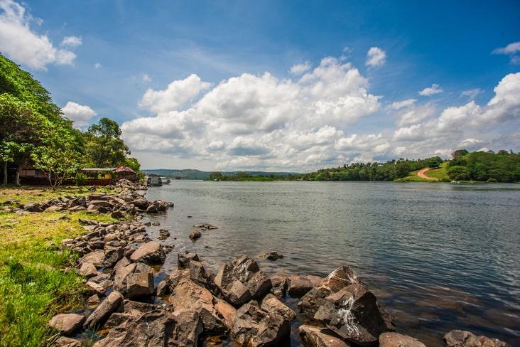 The River Nile leaving Lake Victoria in Uganda