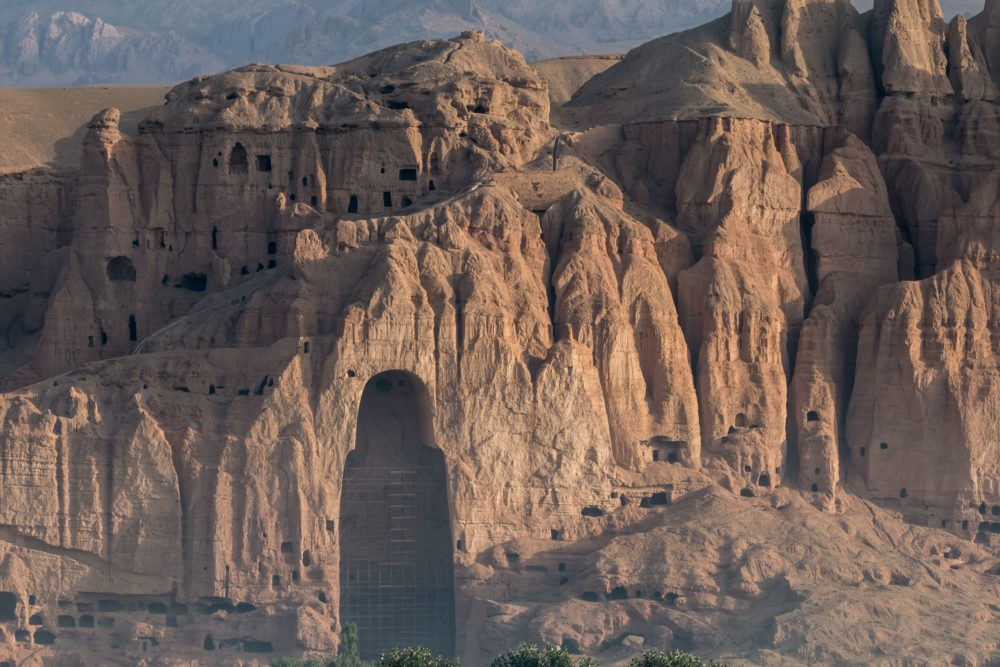 The Bamiyan Valley with a destroyed statue
