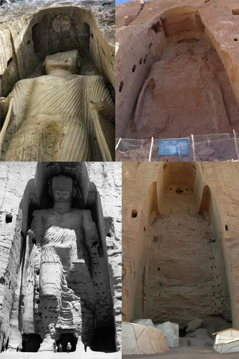 The Buddhas of Bamiyan before and after their destruction