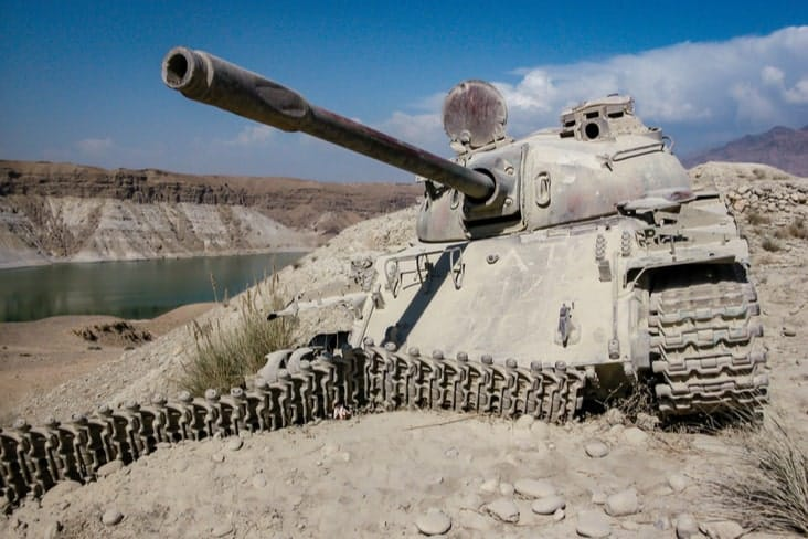 The remains of a tank in Afghanistan