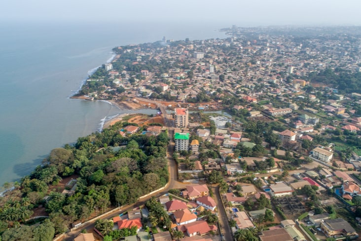 A drone shot of Conakry in Guinea