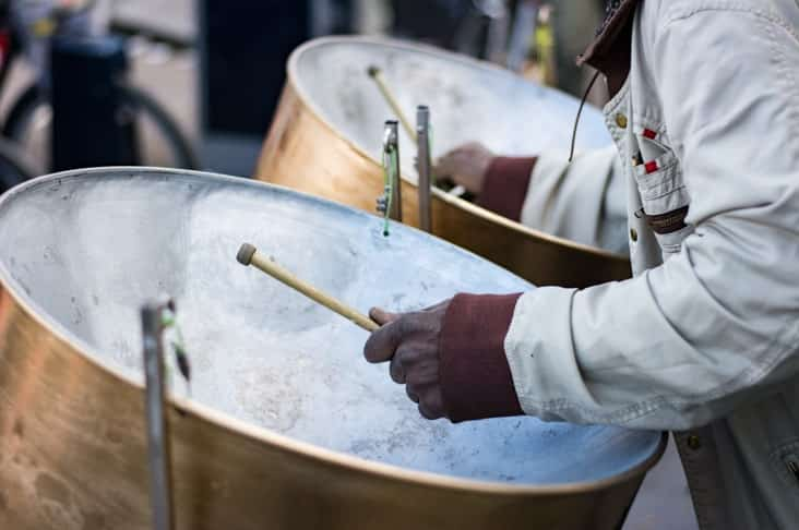 Steel Pans being played in Trinidad and Tobago