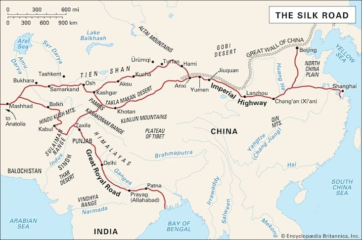 Map of the locations and countries along the Silk Road