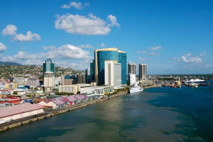 Port of Spain waterfront on the island of Trinidad