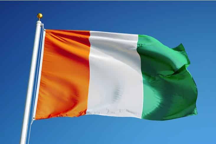 The flag of Ivory Coast