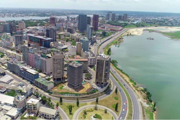 An aerial shot of Abidjan