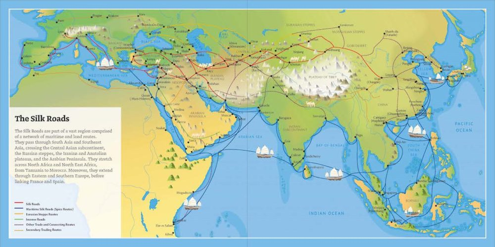 A map of the extended Silk Roads network showing countries along the Silk Road