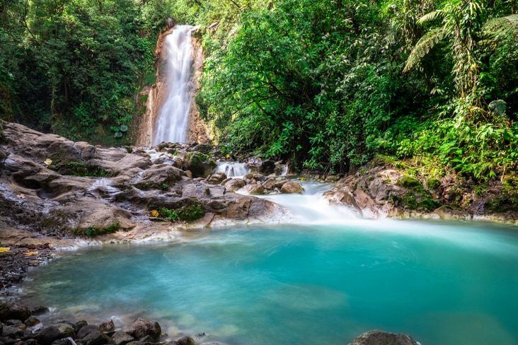 A water fall in Costa Rica – a country that has no army