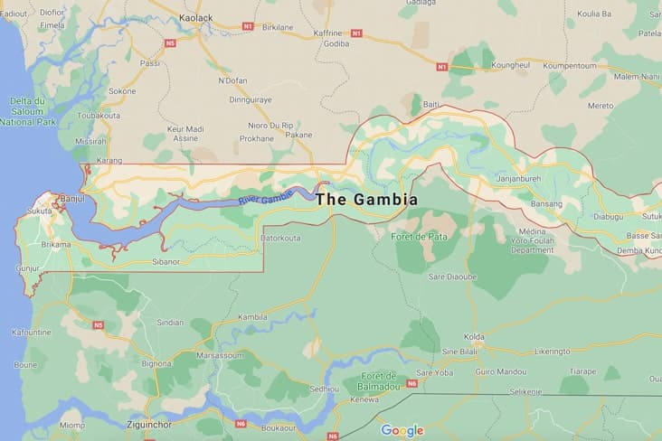 A map of the Gambia