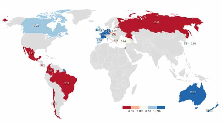 map of the countries with the highest minimum wage